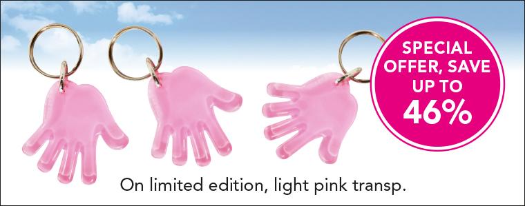 Hand Schlüsselanhänger - sonderangebot für rosa transp.