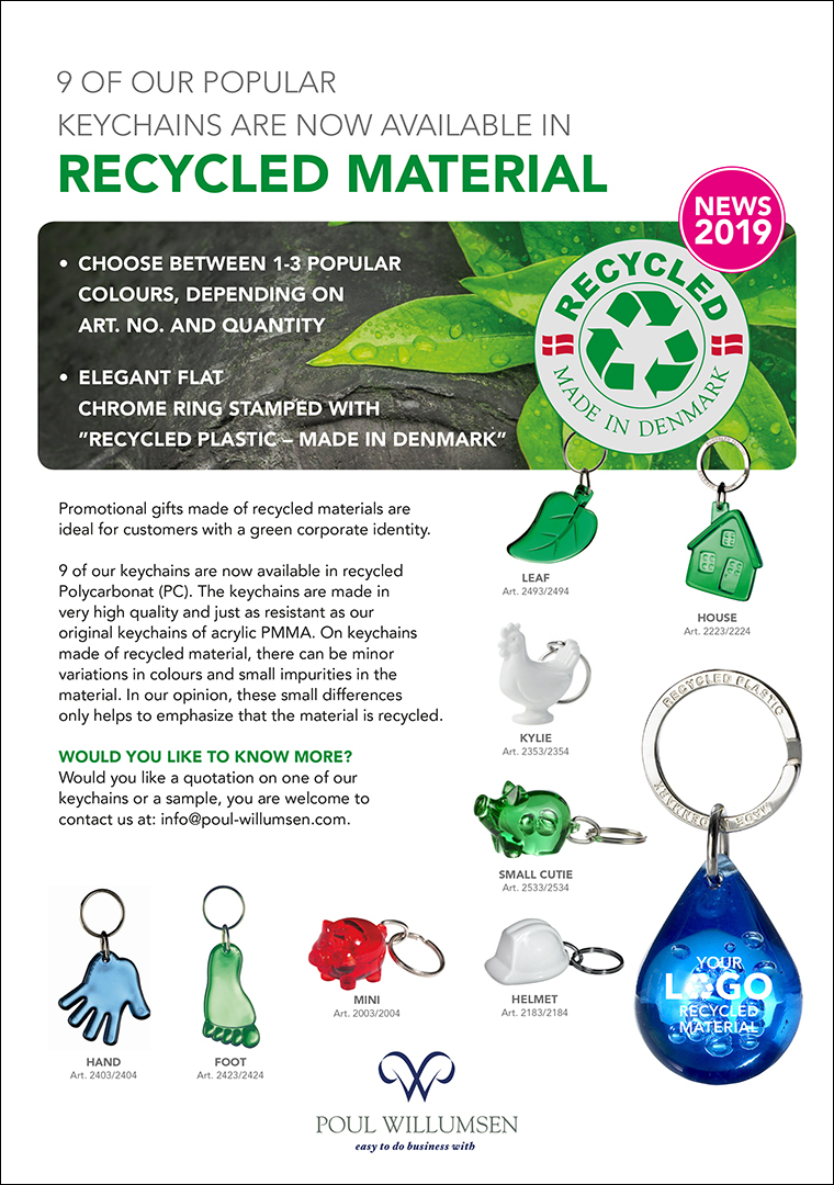 Flyer: Keychains made of recycled material