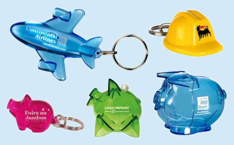 Pad print keychains and piggybanks